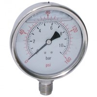 "SHG100-100BG All Stainless Steel Gauges, 1/2"" Bottom Connection"