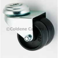 Twin Wheel- Bolt Hole 50mm Diameter Swivel Black Polyproplene Tyre