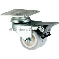 Twin Wheel- Top Plate  50mm Diameter  Braked Swivel Grey Rubber Tyre