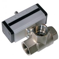 D153H004 Brass Ball Valves, 3 Way L Port Pneumatic Actuation, Low Pressure